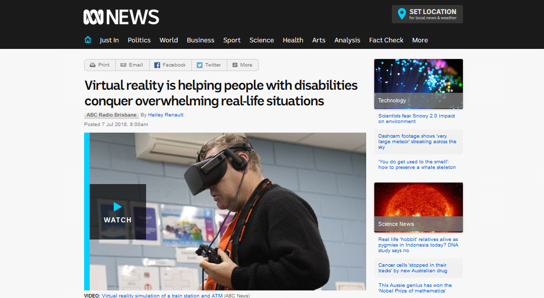 Virtual reality is helping people with disabilities conquer overwhelming real-life situations